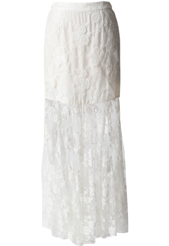 [Houghton]<br />Lace Long Skirt-Ivory