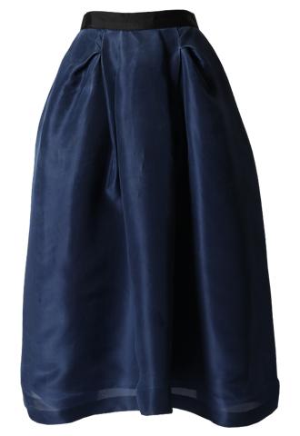 [Khoon Hooi]<br>Tackdesigned Skirt-Navy