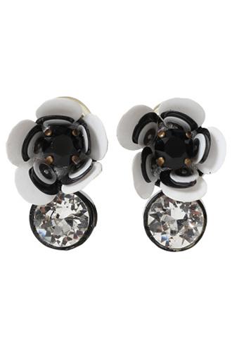 [Shourouk]<br>Flower Jeweled Earrings-White/Black