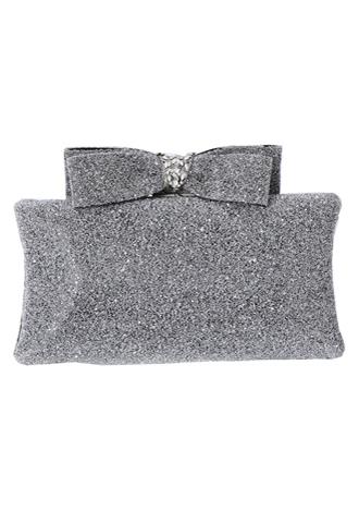 [Maria Elena]<br>Glitter Ribbon Clutch Bag-Silver