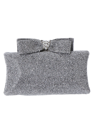 [Maria Elena]<br>Glitter Ribbon Clutch Bag-Silver