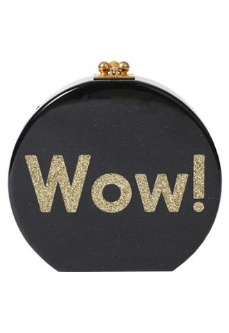 ゴールドのラメプリントされたWOW!のロゴがチャーミングなブラックの丸型チェーンバッグ