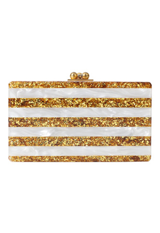 [Edie Parker]<br>Acrylic Clutch Bag-White/Gold