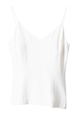 [Houghton]<br>Silk Crepe Shelth Tops-White