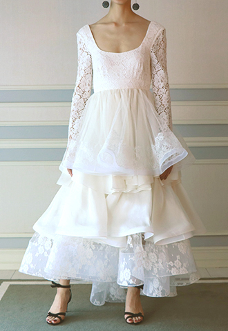 【HOUGHTON】LACE RUFFLE SKIRT DRESS
