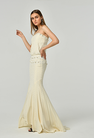 [Nicole Miller]<br>Embroidered Dress(36)-Ivory