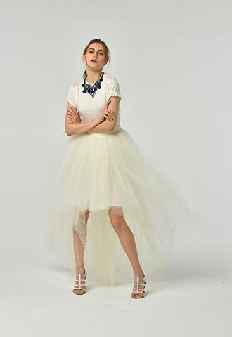 [Houghton]<br>Tulle Skirt-Ivory