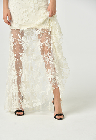 [Houghton]<br>Lace Long Skirt-Ivory