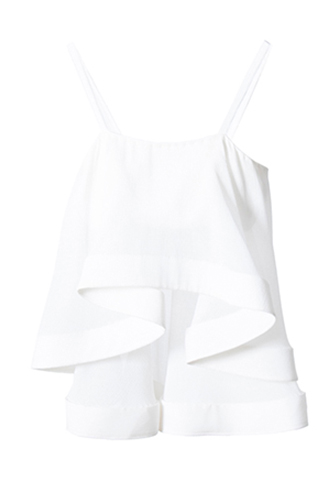 [Houghton]<br>Silk Georgette Ruffle Top-WHITE