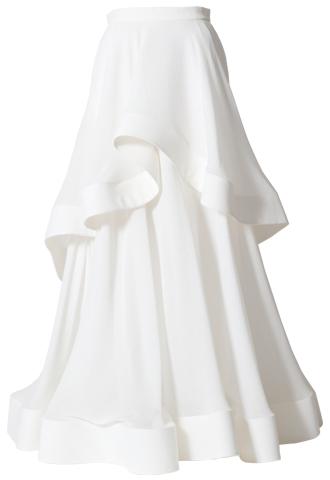 [Houghton]<br>Silk Georgette Ruffle Skirt-White