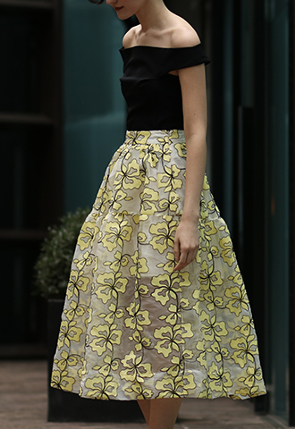 [Maje]<br>Embroidered Skirt-Yellow