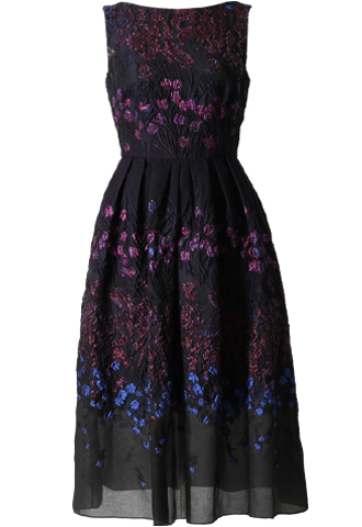 [Lela Rose]<br>Flower Embroidered Dress-Navy