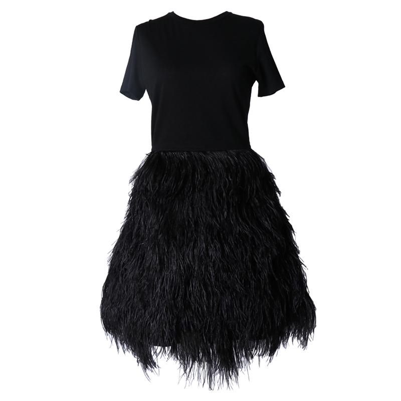 ブラックのショートスリーブタイプのショートドレス。トップスはシンプル、スカートは全体にフェザーがあしらわれているオールブラックのワンピースです。