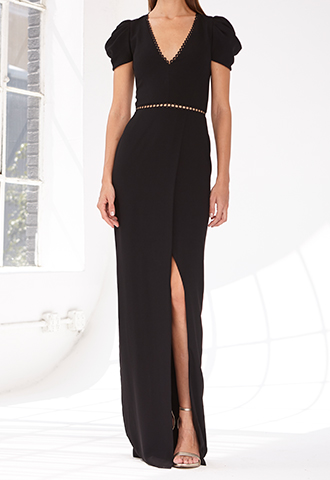 [ML Monique Lhuillier]<br>Slit Long Dress-Black