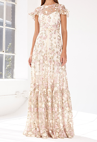 [ML Monique Lhuillier]<br> Embroidered Lace Long Dress(38)-White/Beige