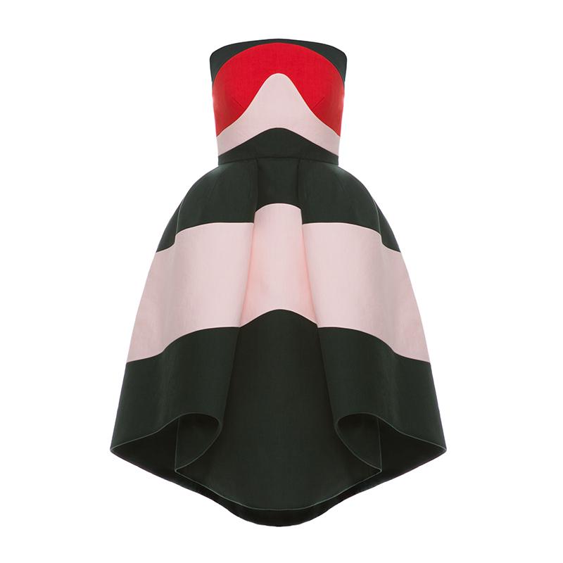レッド・ピンク・グリーンが配色されたベアタイプのショートドレス