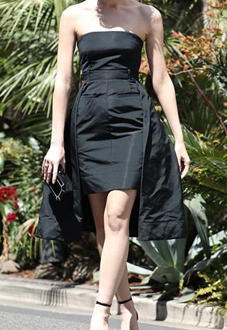 [Vera Wang]<br>Strapless Dress-Black