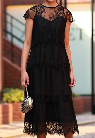 【PARKER BLACK】LACE BLACK DRESS(38)