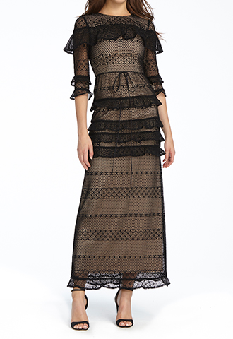 【ML Monique Lhuillier】LACE LONG DRESS