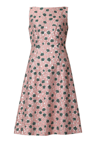 [Lela Rose]<br>Metalic Floral Dress-Silver/Pink