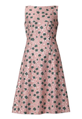 [Lela Rose]<br>メタリックフローラル ドレス-ピンク/シルバー