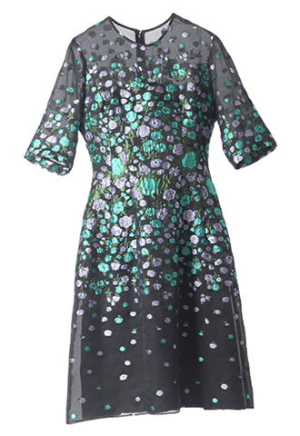 [Lela Rose]<br>Elbow Sleeved Dress-Black/Green