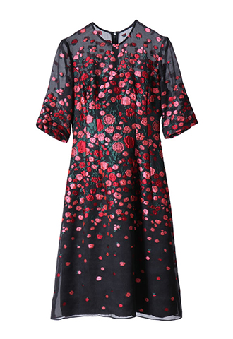 [Lela Rose]<br>Elbow Sleeved Dress-Black/Pink