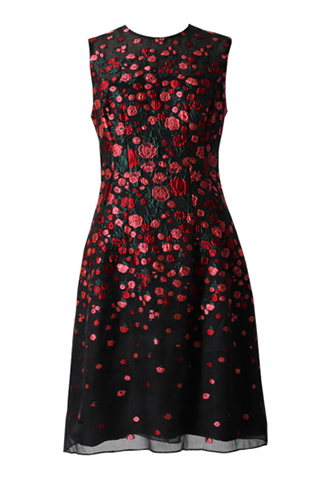 [Lela Rose]<br>Embroidered Dress-Black/Pink