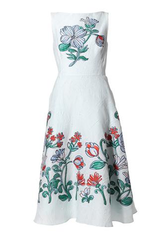 [Lela Rose]<br>Embroidered Dress-Blue