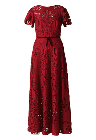 [ML Monique Lhuillier]<br>Lace Dress-Red