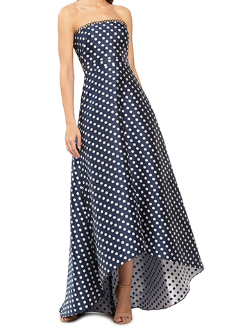 [ML Monique Lhuillier]<br>Polka Dot Dress-Navy