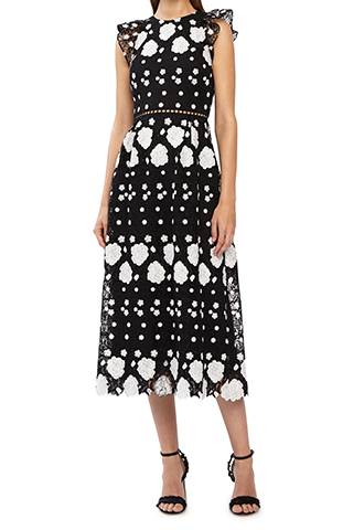 [ML Monique Lhuillier]<br>Lace Dress(40)-Black/White