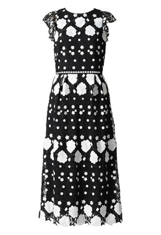 [ML Monique Lhuillier]<br>フローラルレース ドレス(38)-ブラック/ホワイト