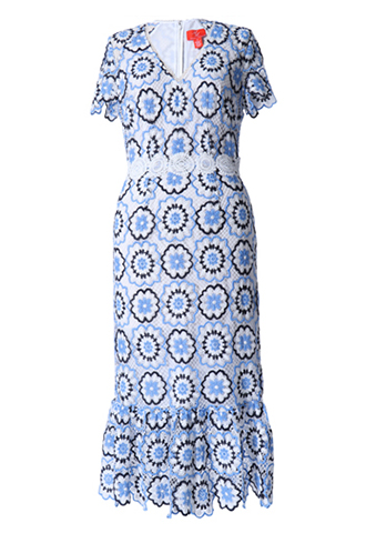[ML Monique Lhuillier]<br>半袖フローラルレース ドレス(38)-ホワイト/ブルー