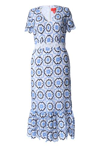 [ML Monique Lhuillier]<br>半袖フローラルレース ドレス(36)-ホワイト/ブルー