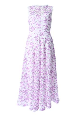 [ML Monique Lhuillier]<br>ドッド柄レース ドレス(36)-ホワイト/ピンク