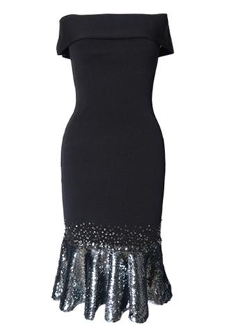 [Sachin&Babi]<br>Off the shoulder Dress-Black
