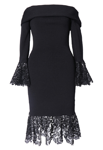 [Sachin&Babi]<br>長袖オフショルダー ドレス-ブラック