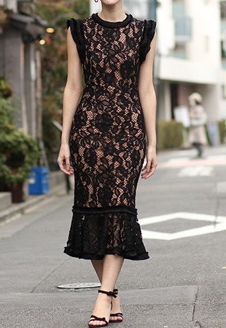[Alexis ]<br>Lace Dress-Black/Baige
