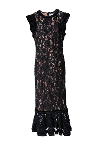 [Alexis ]<br>Lace Dress-Black/Baige