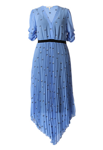 [Maje]<br>Pleats Skirt Dress-Blue