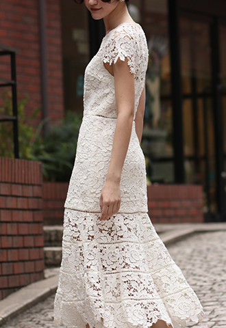 [Joie]<br>Lace Dress-White