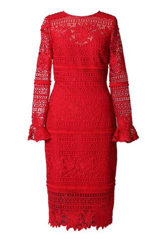 [ML Monique Lhuillier]<br>Lace Dress(36)-Red