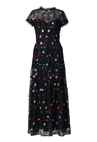 [ML Monique Lhuillier]<br> Embroidered Lace Long Dress(36)-Black/Navy