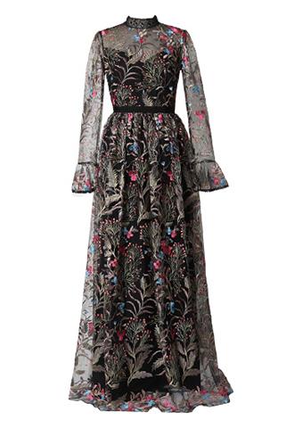[ML Monique Lhuillier]<br>Embroidered Long Dress(34)-Black/Gold