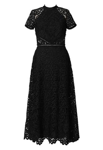 [ML Monique Lhuillier]<br>半袖レース ドレス(38)-ブラック