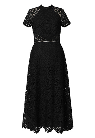 [ML Monique Lhuillier]<br>半袖レース ドレス(36)-ブラック