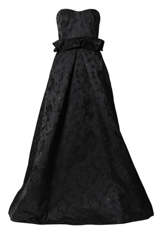 [ML Monique Lhuillier]<br>ストラップレス ロングドレス(36)-ブラック