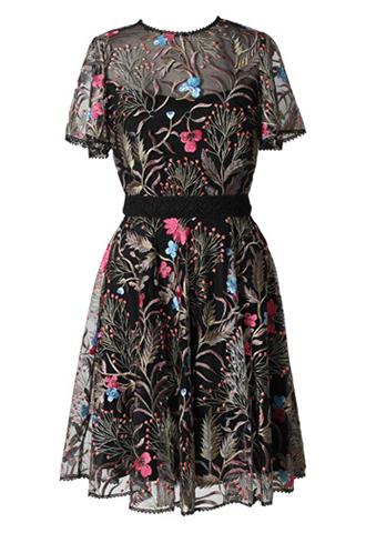 [ML Monique Lhuillier]<br>半袖フローラルレース ドレス(38)-ブラック/ゴールド