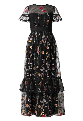 [ML Monique Lhuillier]<br>Embroidered Long Dress(36)-Black